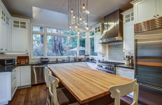 Berkeley-Hills-Craftsman-Renewal Kitchen island to windows